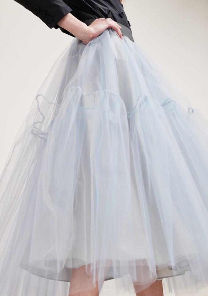 MATTA E GOLDONI - Midi grey ballerina skirt in tulle