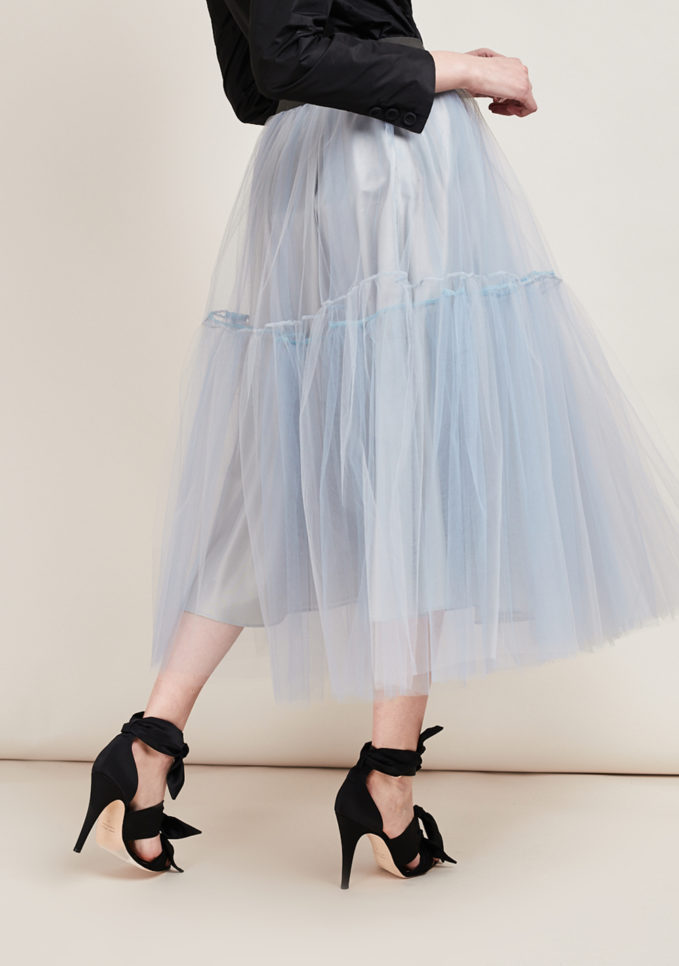 MATTA E GOLDONI - Midi grey ballerina skirt in tulle