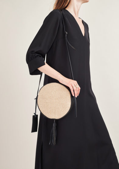 FUNKY MAMA - Pearl straw and black leather bag