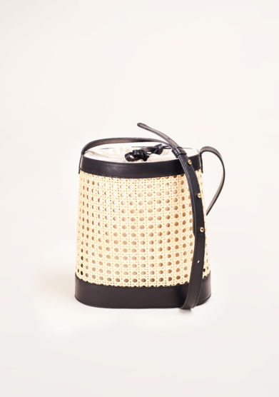 SARTA - Pablo straw and black leather bucket bag