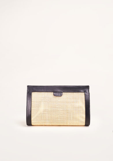 SARTA - Tilda straw and black leather clutch
