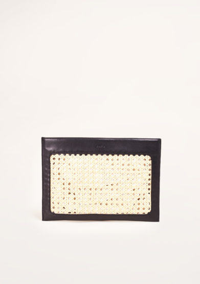 SARTA - Renato straw and black leather clutch