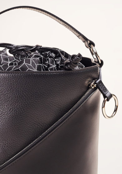 SIMONE RAINER - Black leather bucket bag