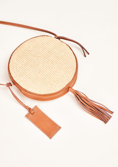 FUNKY MAMA - Pearl straw and brown leather bag
