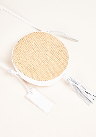 FUNKY MAMA - Pearl straw and white leather bag