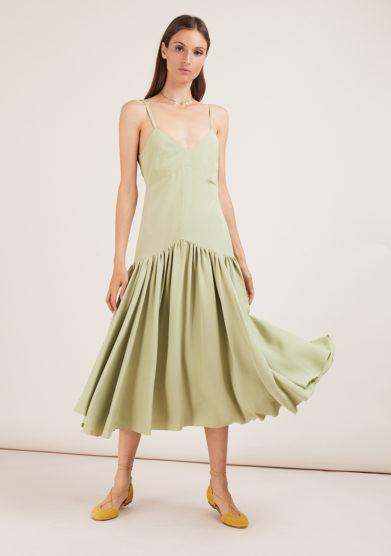 Caftanii Firenze slip dress green
