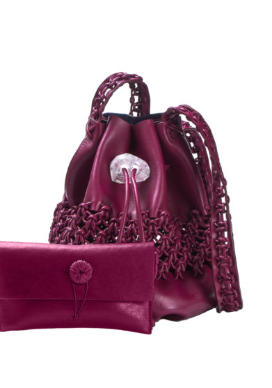 IACOBELLA - Ulzii Nirmala cerise bucket bag in leather
