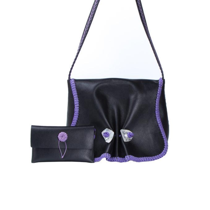 IACOBELLA - Crossbody Hydra black bag in leather