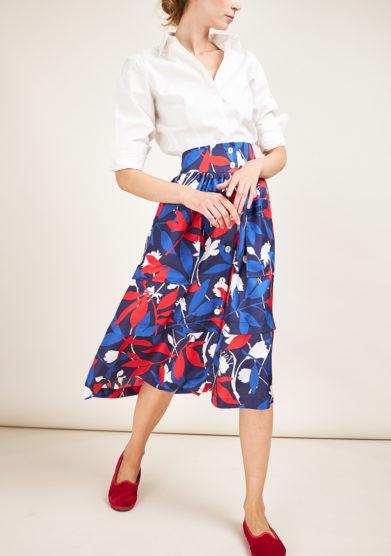 CARLOTTA CANEPA - Midi printed silk skirt