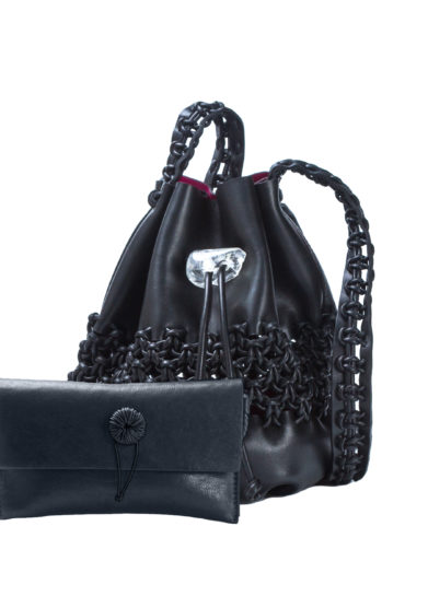 IACOBELLA - Ulzii Nirmala black bucket bag in leather