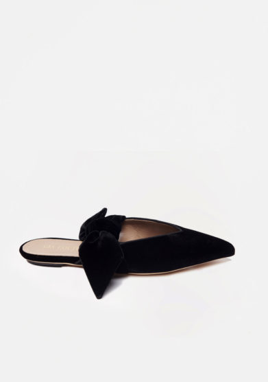 GIA COUTURE - Bandana Girl flats in black velvet