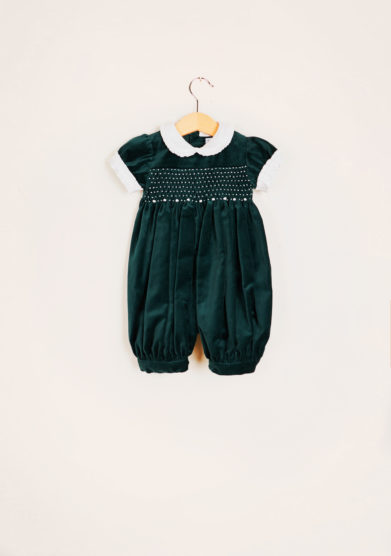 BARONI - Velvet romper suit with smock