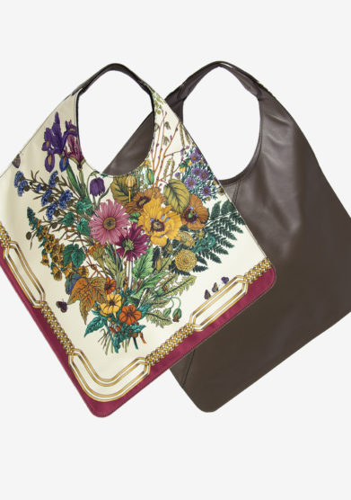 MANTERO 1902 - The Carré bag in leather and cream printed silk