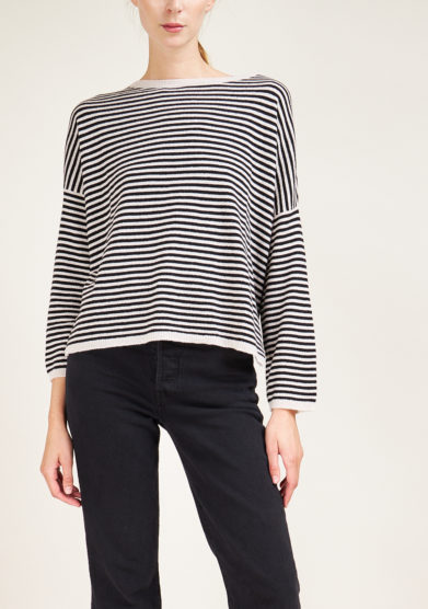 ALYKI - Black and white striped cashmere sweater