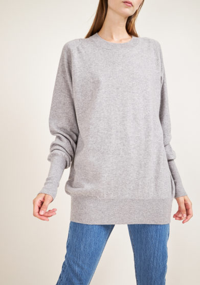 ALYKI - Ultra soft grey cashmere crewneck sweater