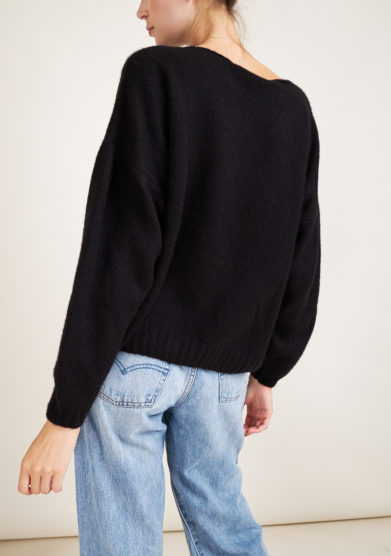 ALYKI - Silk and cashmere-blend black sweater