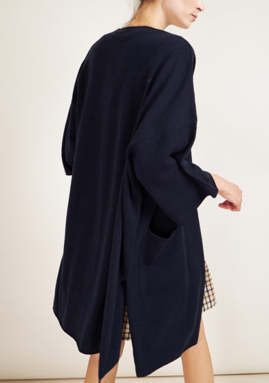 ALYKI - Blue cashmere cardigan with three quarter sleeves