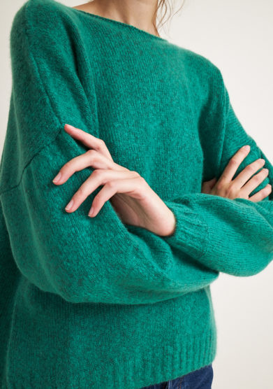 ALYKI - Silk and cashmere-blend green sweater