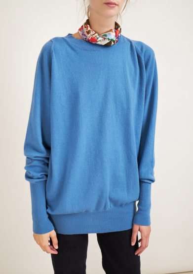ALYKI - Ultra soft light blu cashmere crewneck sweater