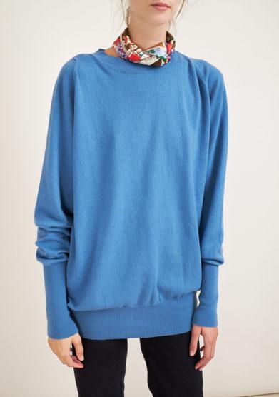 ALYKI - Ultra soft light blu cashmere crewneck sweater