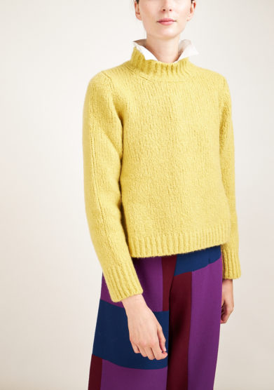 ALYKI - Silk and cashmere-blend yellow turtleneck