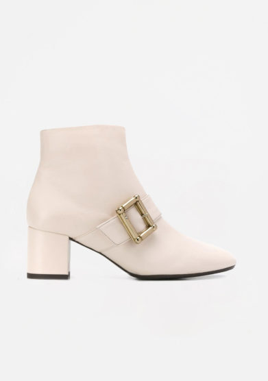 ANNA BAIGUERA - Cream leather ankle boots with buckle details