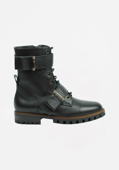 ANNA BAIGUERA - Black leather biker boots with buckle details