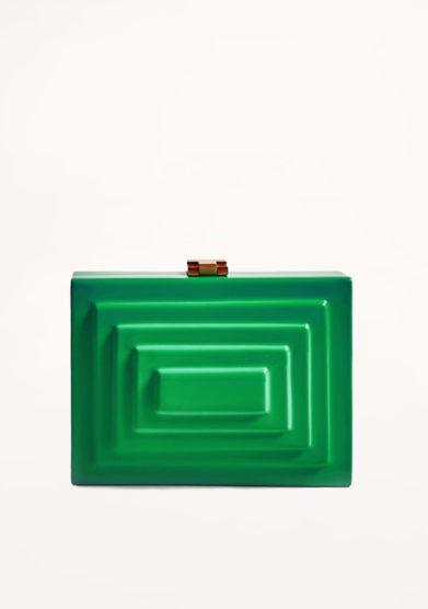 VIRGINIA SEVERINI - Cleo emerald green wood clutch