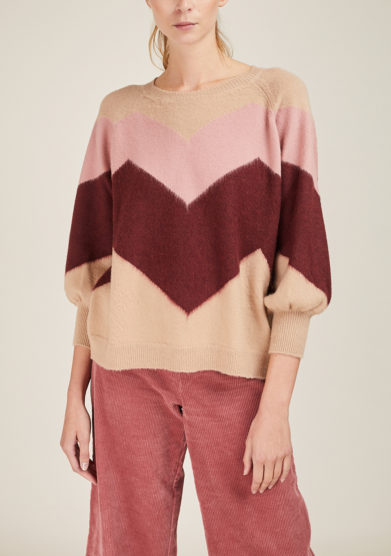 ARCHIVIO B - Short beige merino wool pullover with zig zag inlay