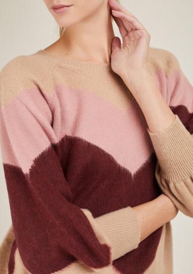 ARCHIVIO B - Short beige merino wool pullover with zig zag inlay