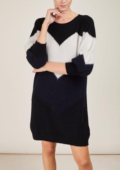 ARCHIVIO B - Black merino dress with zig zag inlay