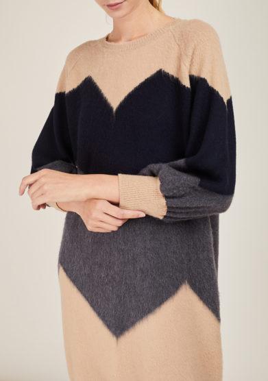 ARCHIVIO B - Beige dress with blue and grey zig zag inlay
