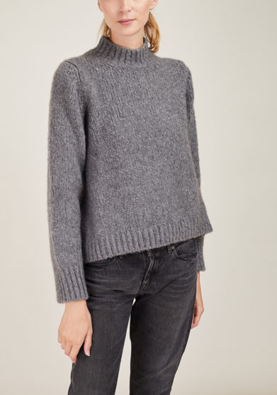 ALYKI - Silk and cashmere-blend grey turtleneck