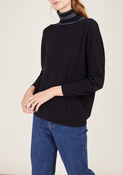 ARCHIVIO B - Black wool and cashmere-blend turtleneck sweater