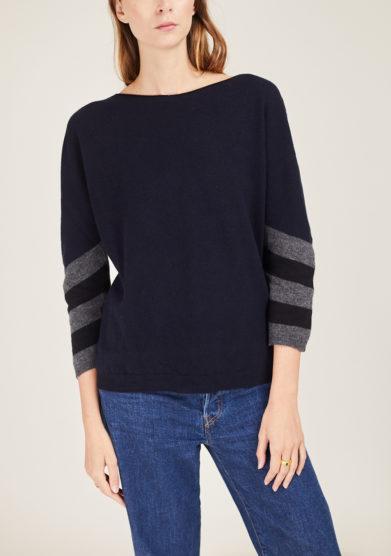 ARCHIVIO B - Wool and cashmere-blend blu striped sleeve sweater