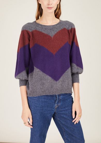 ARCHIVIO B - Short grey merino wool pullover with zig zag inlay
