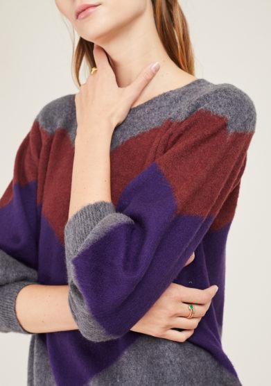 ARCHIVIO B - Short grey merino wool pullover with zig zag inlay