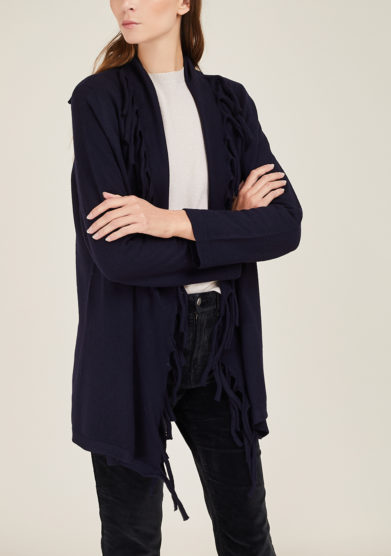 ARCHIVIO B - Blue fringed wool cardigan