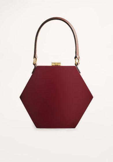 VIRGINIA SEVERINI - Diamante bordeaux wood handbag