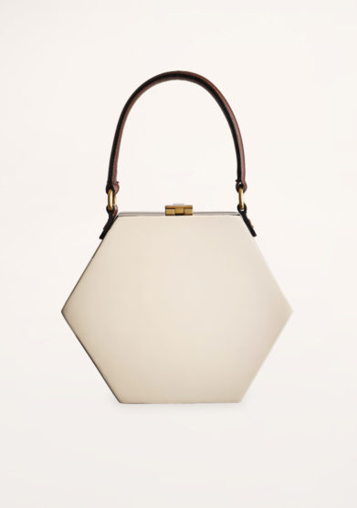 VIRGINIA SEVERINI - Diamante cream wood handbag