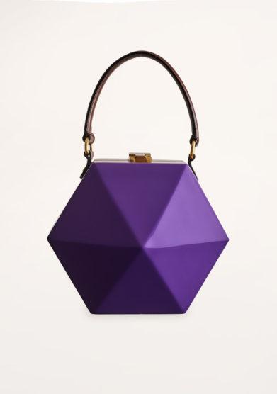 VIRGINIA SEVERINI - Diamante purple wood handbag