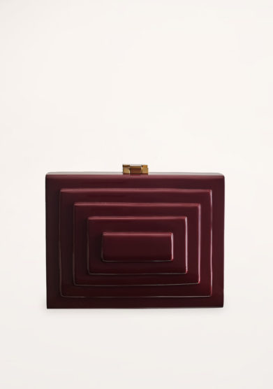 VIRGINIA SEVERINI - Cleo bordeaux wood clutch