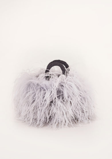 PESCEPAZZO - Grey feather-trimmed embellished bag