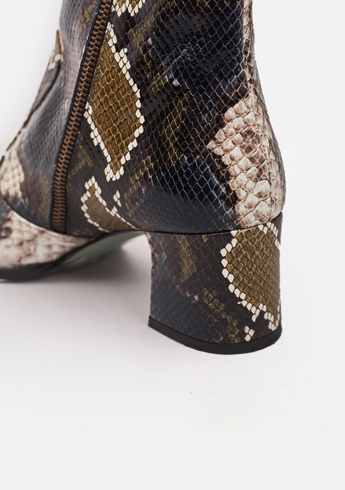 PAOLA D'ARCANO - Multicolour leather embossed ankle boots