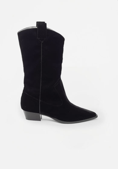 GIA COUTURE - Quarz black velvet texan boots