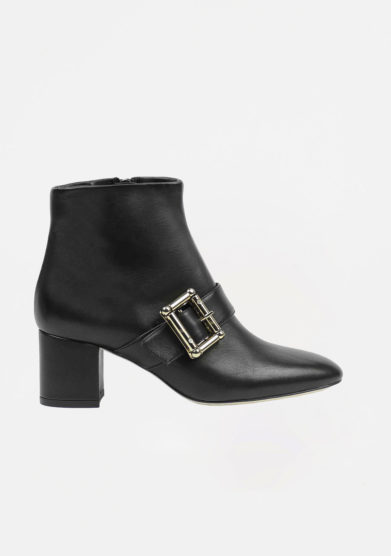 ANNA BAIGUERA - Black leather ankle boots with buckle details