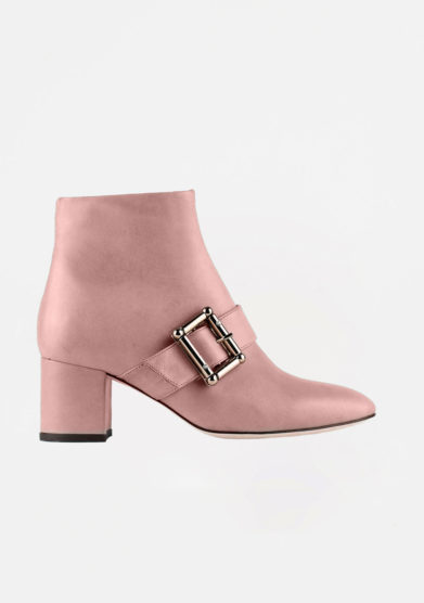 ANNA BAIGUERA - Pink leather ankle boots with buckle details