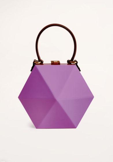 VIRGINIA SEVERINI - Diamante lilac wood handbag