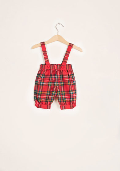 BARONI - Red tartan wool bloomer with braces