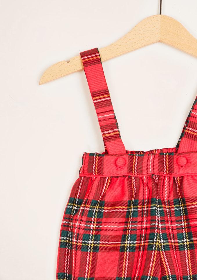 BARONI - Red tartan wool bloomer with braces